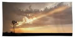Stormy Sunset And Windmill 01 Beach Towel by Rob Graham
