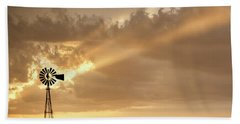 Stormy Sunset And Windmill 02 Beach Towel by Rob Graham