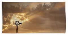 Stormy Sunset And Windmill 03 Beach Towel by Rob Graham
