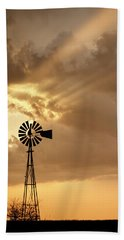 Stormy Sunset And Windmill 04 Beach Towel by Rob Graham
