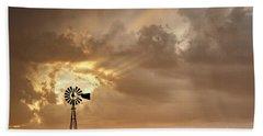 Stormy Sunset And Windmill 05 Beach Sheet