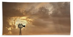 Stormy Sunset And Windmill 05 Beach Towel by Rob Graham