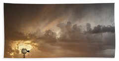 Stormy Sunset And Windmill 06 Beach Towel by Rob Graham