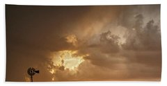 Stormy Sunset And Windmill 07 Beach Towel by Rob Graham