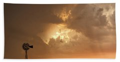 Stormy Sunset And Windmill 08 Beach Towel by Rob Graham