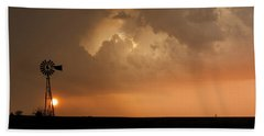 Stormy Sunset And Windmill 09 Beach Towel by Rob Graham