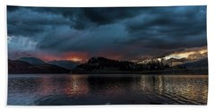 Stormy Sunset From Summit Cove Beach Towel by Stephen Johnson
