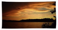 Stormy Sunset On Amoeber Lake Beach Towel