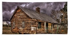 Beach Towel featuring the photograph Stormy Times Tenant House Greene County Georgia Art by Reid Callaway