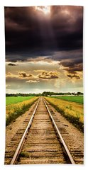 Stormy Tracks Beach Towel