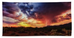 Beach Towel featuring the photograph Stormy Twilight In The Desert by Rick Furmanek