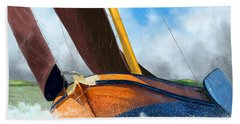 Stormy Weather Skutsje Sailing Ship Beach Towel