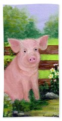 Beach Towel featuring the painting Storybook Pig by Sandra Estes