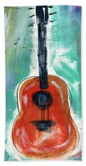 Storyteller's Guitar Beach Towel by Linda Woods