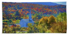 Beach Towel featuring the photograph Stowe Vermont Church In Fall by Jeff Folger