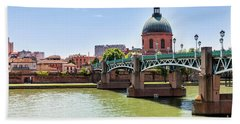 Beach Towel featuring the photograph St.pierre Bridge In Toulouse by Elena Elisseeva