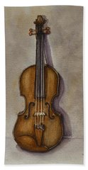 Beach Towel featuring the painting Stradivarius Violin by Kelly Mills