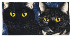 Strangeling's Felines - Black Cat Tortie Cat Beach Sheet by Carrie Hawks