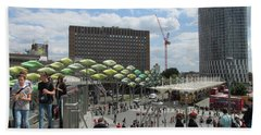 Beach Sheet featuring the photograph Stratford Bus Station - London by Mudiama Kammoh