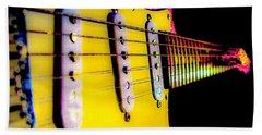 Beach Towel featuring the photograph Stratocaster Pop Art Pink Fire Neck Series by Guitar Wacky