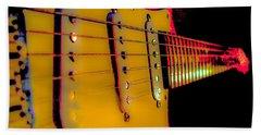 Beach Towel featuring the photograph Guitar Pop Art Hot Rasberry Fire Neck Series by Guitar Wacky
