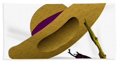 Straw Hat And Horn Beetle Beach Towel