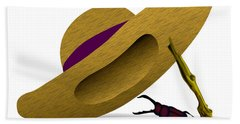 Straw Hat And Stag Beetle Beach Towel