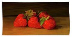Strawberries 01 Beach Towel by Wally Hampton