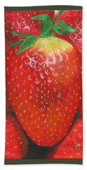 Beach Towel featuring the painting Strawberries by Nancy Nale