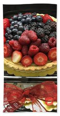 Beach Towel featuring the photograph Strawberries Rasberries Luscious Dessert Fruit Pie With Red Bow  by Kathy Fornal