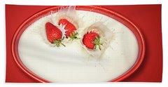Strawberries Splashing In Milk Beach Towel
