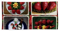 Strawberry Collage Beach Sheet by Sally Weigand