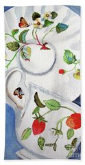 Beach Towel featuring the painting Strawberry Cup And Saucer by Sandy McIntire