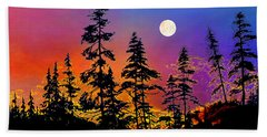 Beach Towel featuring the painting Strawberry Moon Sunset by Hanne Lore Koehler