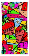 Beach Towel featuring the digital art Strawberry Popart By Nico Bielow by Nico Bielow