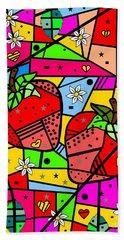 Strawberry Popart By Nico Bielow Beach Sheet by Nico Bielow