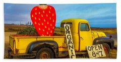 Strawberry Sign In Pickup Truck Beach Sheet by Garry Gay