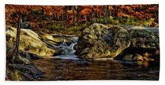 Stream In Autumn 57 In Oil Beach Towel