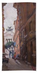 Street At Piazza Venezia Rome Beach Towel
