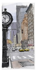 Street Clock On 5th Avenue Handmade Sketch Beach Towel