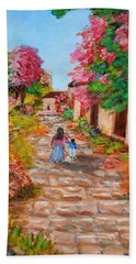Street In Monemvasia Beach Towel