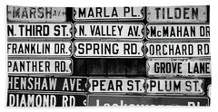 Street Names Beach Towel by Colleen Kammerer