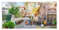Street Of Athens, Greece Beach Towel
