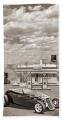 Street Rod At Frontier Station Sepia Beach Towel