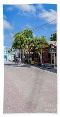 Street Scene Of San Pedro Beach Sheet by Lawrence Burry