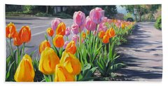 Street Tulips Beach Towel