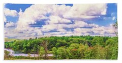 Striking Clouds Above Small Water Inlet And Green Trees Beach Sheet