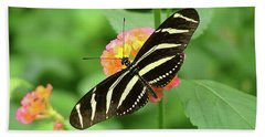 Striped Butterfly Beach Towel by Wendy McKennon