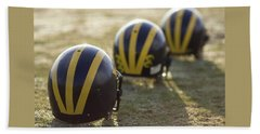 Striped Helmets On A Yard Line Beach Towel