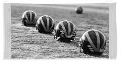 Striped Helmets On The Field Beach Sheet